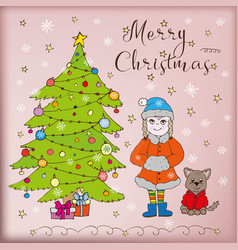 doodle card merry christmas vector image