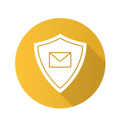 Email security flat design long shadow glyph icon vector