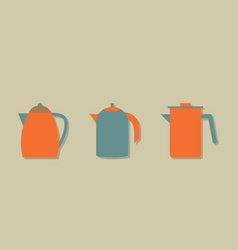 Flat Design Kettles Set vector image