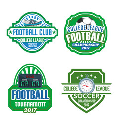 Football sport club soccer championship badge set vector