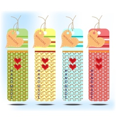 Four colorful card with heart vector image