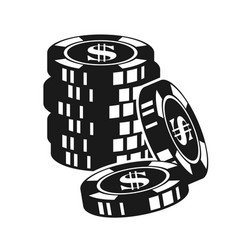 Gambling poker chips black vector