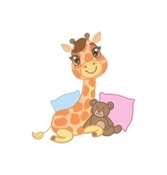Giraffe With Teddy Bear vector image