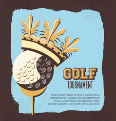 golf ball with golden crown vector image
