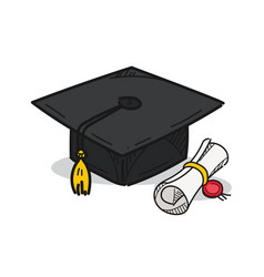 Graduation cap on a white background vector