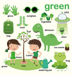 Green color educate color and vocabulary english vector
