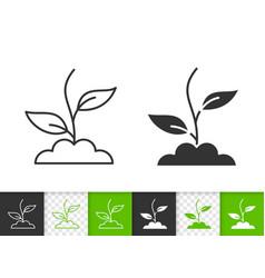 Green grass simple black line icon vector
