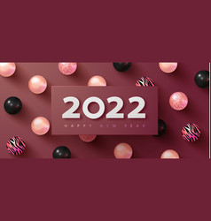 happy new 2022 year holiday background with white vector image