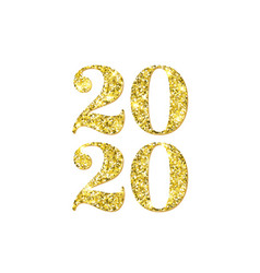 happy new year 2020 numbers golden confetti on vector image