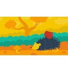 hedgehog in forest vector image