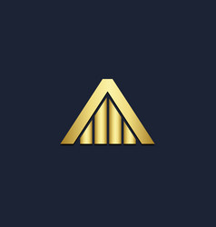house triangle shape gold logo vector image