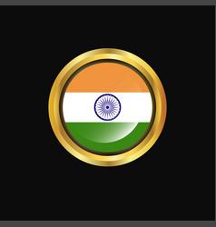india flag golden button vector image