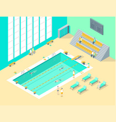indoors swimming pool interior with people vector image