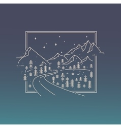 Inspiration linear poster with mountains road and vector image
