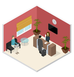interior office or hotel reception isometric view vector image
