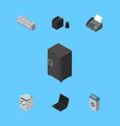 Isometric cabinet set of scanner desk file rack vector