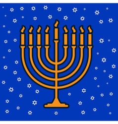 Jewish traditional nine candle candelabrum vector