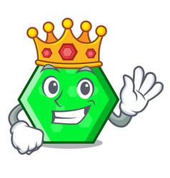 King octagon mascot cartoon style vector