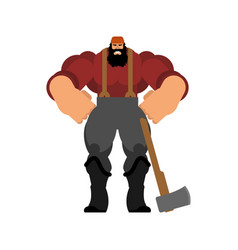 Lumberman isolated woodcutter with an ax strong vector
