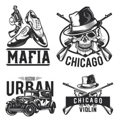 Mafia emblems labels badges logos vector