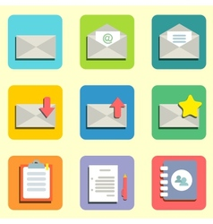 mail flat icons vector image