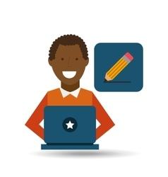 man afroamerican using laptop write icon vector image