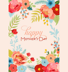 Mothers day greeting card with flowers bouquet vector