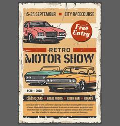 Motor show retro vintage cars vector