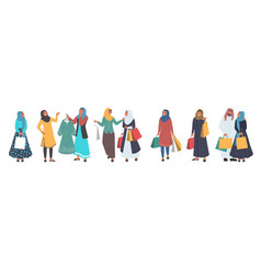 muslim people shopping male and female cartoon vector image