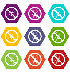 no spider sign icon set color hexahedron vector image