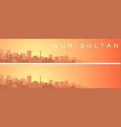 Nur-sultan beautiful skyline scenery banner vector