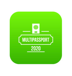 passport icon green vector image