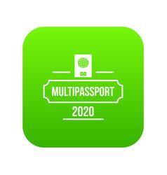 passport icon green vector image