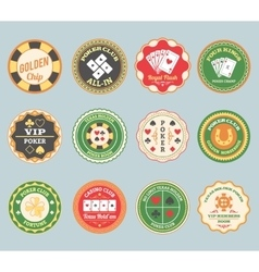 Poker retro labels set vector image