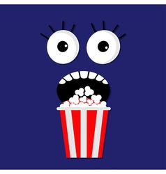 Popcorn screaming face vector