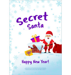 poster secret santa and happy new tear santa vector image