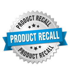 Product recall round isolated silver badge vector