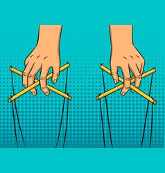 Puppeteer hands pop art style vector