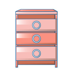 red modern bedroom table icon cartoon style vector image