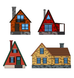residential houses icons in trending flat style vector image