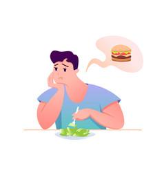 sad fat guy eat green salad vector image