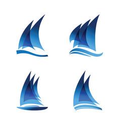 sailboat logo set vector image