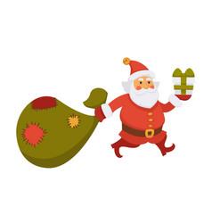 santa carry christmas bag new year gift daily life vector image