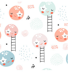 seamless childish pattern with slepping moons and vector image
