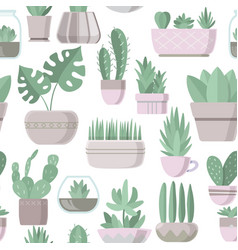 Seamless pattern with cactus and succulent vector