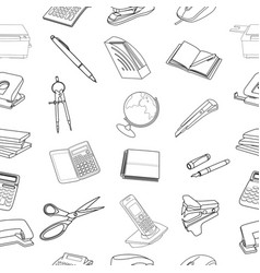 seamless stationery pattern vector image