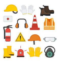Set of safety equipment for construction vector