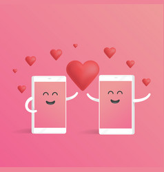 Smartphone love valentines day concept cute vector