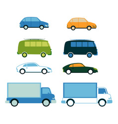 sport car family van bus cargo truck set vector image