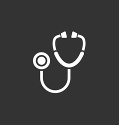 stethoscope flat icon on a black background vector image